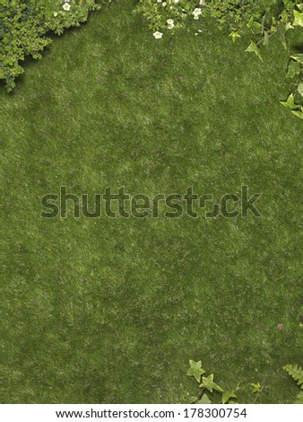lawn with plants - stock photo