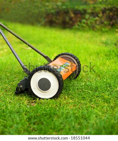 Lawnmower cutting grass