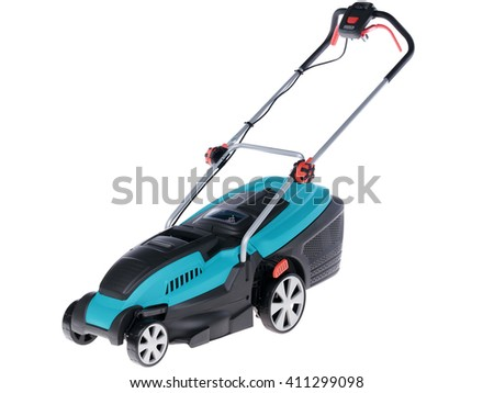 lawnmower on a white background - stock photo