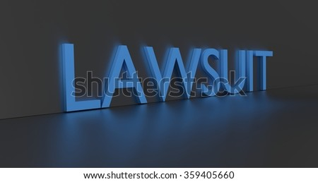 Lawsuit concept word - blue text on grey background.