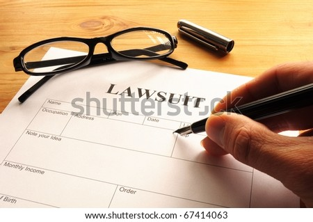 lawsuit form or document in business office