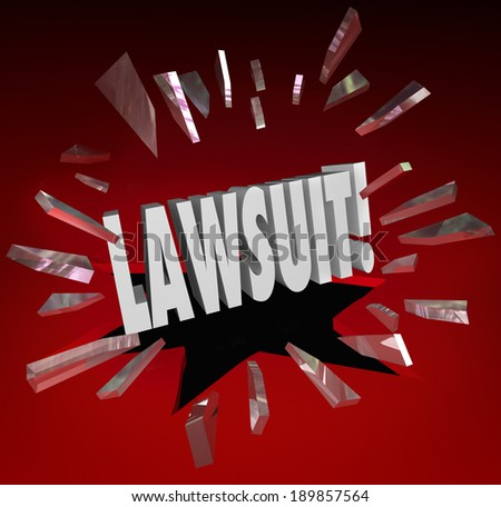 Lawsuit Word Legal Court Case Sue Lawyer Justice - stock photo