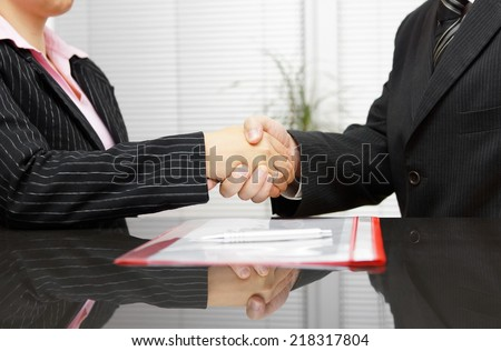 Lawyer and client are handshaking after successful meeting - stock photo