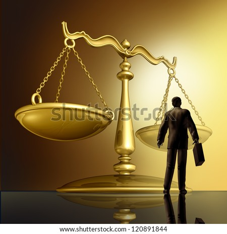 Lawyer and the law with a justice scale made of brass gold metal on a glowing background as a symbol of the legal advice, system in government and society in enforcing rights and regulations. - stock photo