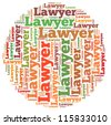 Lawyer info-text graphics and arrangement concept on white background (word cloud) - stock vector