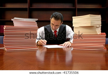 lawyer is signing the contract , lawyer concept , law concept - stock photo