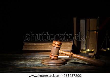 Lawyer, law, gavel. - stock photo