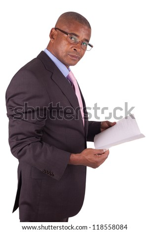 lawyer or business man reading a book - stock photo