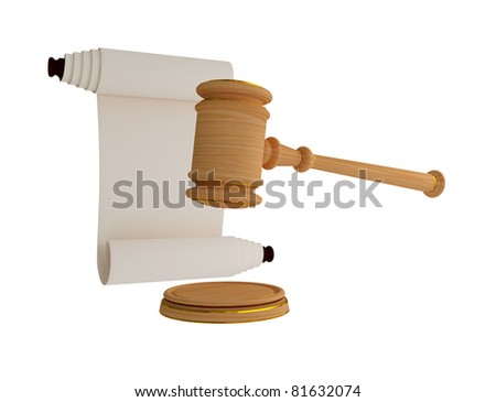 Lawyer's hammer and antique scroll. 3d rendered. Isolated on white background. - stock photo