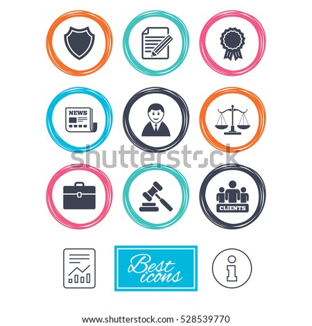 Lawyer, scales of justice icons. Clients, auction hammer and law judge symbols. Newspaper, award and agreement document signs. Report document, information icons.