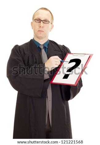 Lawyer showing something on clipboard - stock photo
