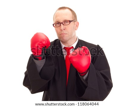 Lawyer with boxing gloves - stock photo