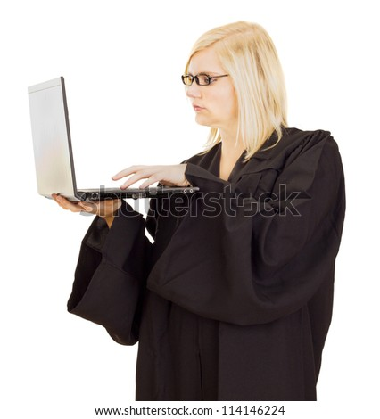 Lawyer working on the computer - stock photo
