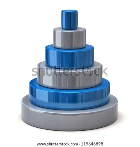 Layer blue pyramid - stock photo