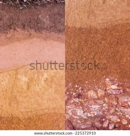 Layer of soil underground - stock photo