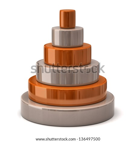 Layer orange pyramid - stock photo