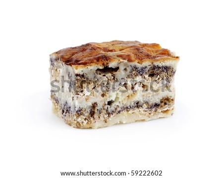 Layer pie of Prekmurje, traditional slovenian dessert - stock photo