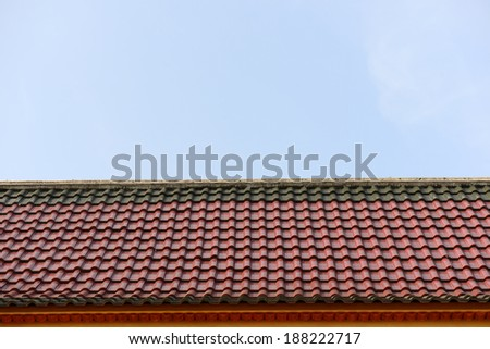 Layer roof tiles of Thai temple.
