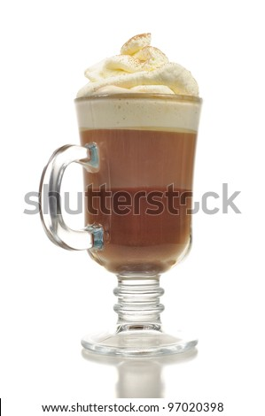 Layered Chocolate Cocktail with Whipped Cream in Glass Isolated on White Background - stock photo