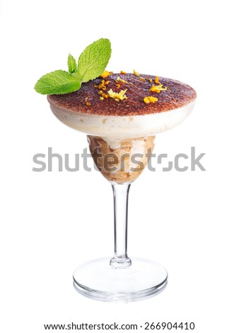 Layered dessert in a glass. American parfait. Sweet food.