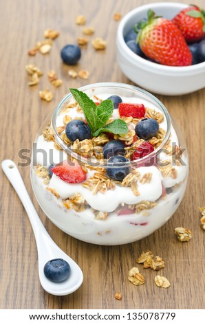 layered dessert with yogurt, granola, fresh berries garnished with mint on a wooden background closeup