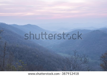 Layered landscape in soft light, Sun rise - stock photo