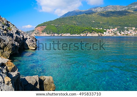 layered mountains in Montenegro a magnificent fragrant pine blue sea and natural pattern background