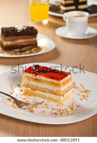 Layered orange cake with jelly