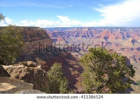 Layered Rock of the Grand Canyon - stock photo