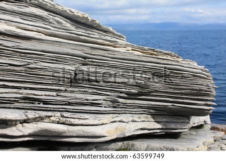 Layered rocks - stock photo