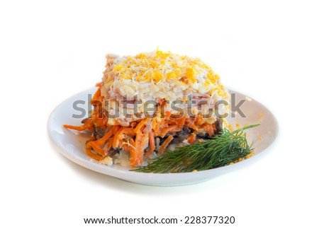 layered salad with ham, cheese and mushrooms - stock photo