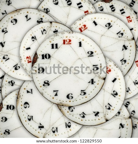 Layers of clock face for the concept of Infinite Faces of Time. - stock photo