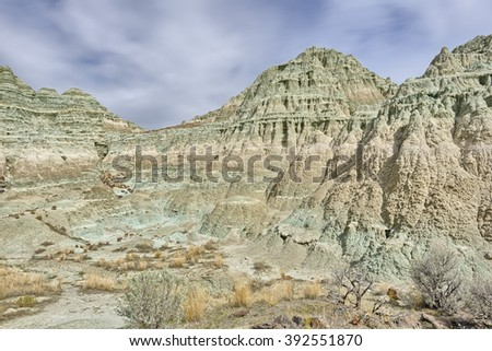 Layers of fossilized clay in the Sheep Rock Unit, John Day Fossil Beds National Monument, Oregon - stock photo