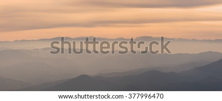 Layers of Kopaonik  mountain hills in Serbia