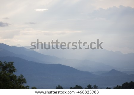 Layers of mountain ,Bali island,Indonesia,view from Munduk village