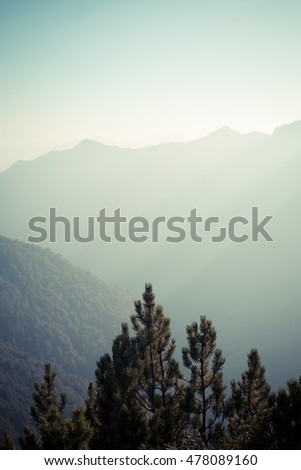 layers of mountains, great panorama and landscape