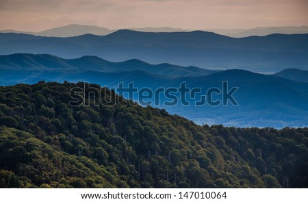 Layers of ridges of the Blue Ridge Mountains, seen from Stony Man Mountain, Shenandoah National Park, Virginia. - stock photo