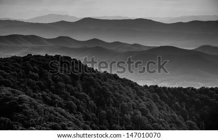 Layers of ridges of the Blue Ridge Mountains, seen from Stony Man Mountain, Shenandoah National Park, Virginia. - stock photo