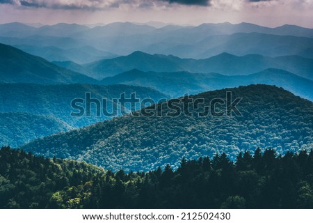 Layers of the Blue Ridge Mountains seen from Cowee Mountains Overlook on the Blue Ridge Parkway in North Carolina. - stock photo
