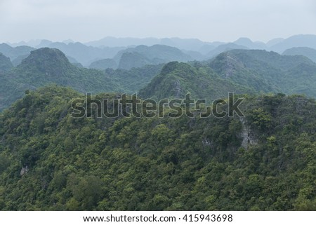 Layers of tropical mountain. Tropical mountain landscape. Photo taken in vietnam