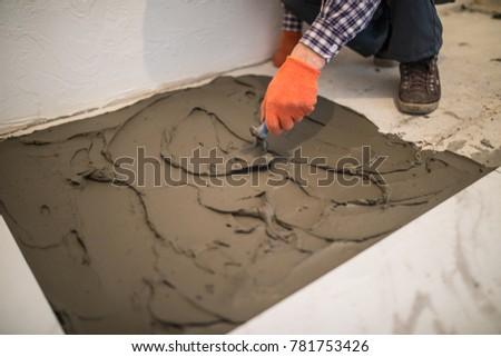 Laying Ceramic Tiles Master Make Concrete Stock Photo Royalty Free