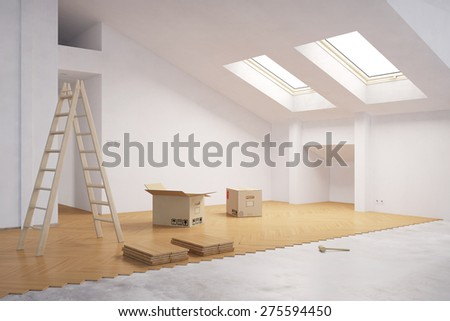Laying hardwood on floor in attic during renovation (3D Rendering) - stock photo