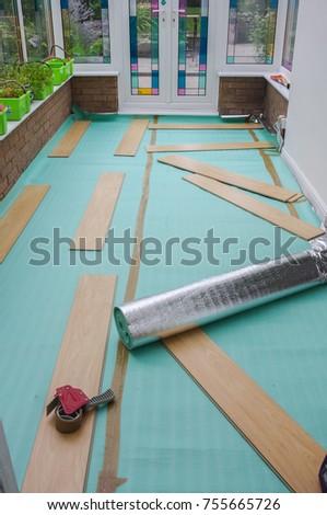 Laying Laminate Flooring Insulated Underlay On Stock Photo Royalty