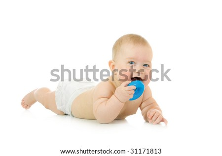 Laying small baby with a toy isolated