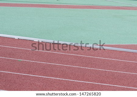 Layout and inside fence of different areas athletics stadium - stock photo