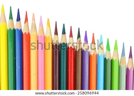 layout chart style eighteen colour pencils isolated on white background