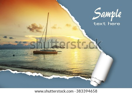layout for advertising of tourist business. Sailing boat at sunset, with the effect of torn paper and space for text - stock photo