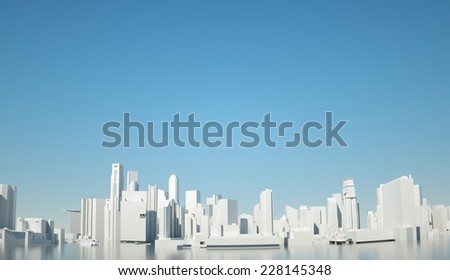 Layout lines of the skyscrapers of Singapore on the background of blue sky, 3d render - stock photo