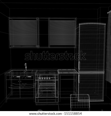 layout of the apartment. Wire-frame render on black background