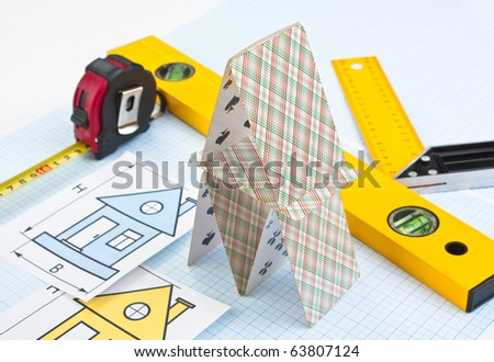 layout of the house and tools on graph paper